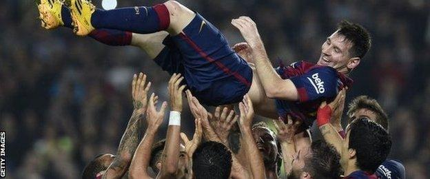 Lionel Messi is given bumps