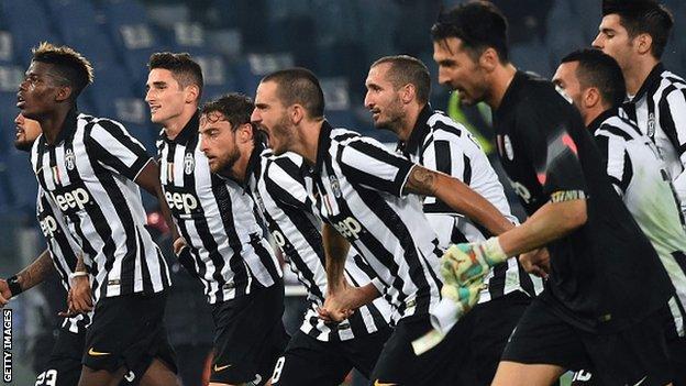 Juventus celebrate after beating Lazio