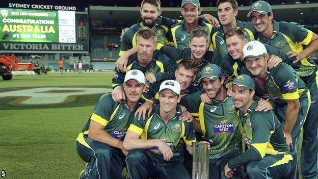 Australia celebrate with the one-day series trophy