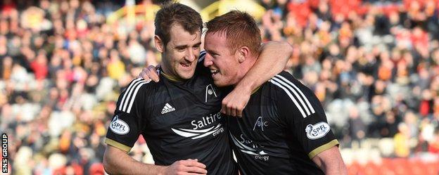 Niall McGinn and Adam Rooney celebrate