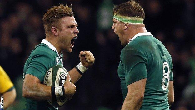 Ian Madigan and Jamie Heaslip celebrate Ireland's win over Australia