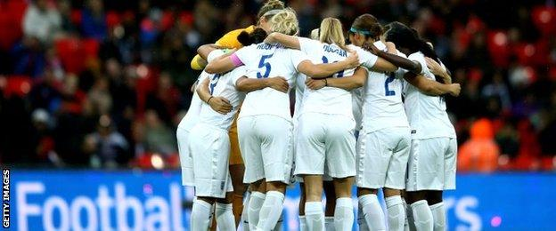 England players in huddle