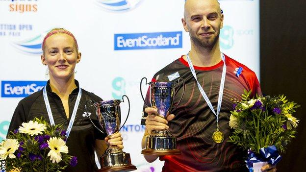 Imogen Bankier and Robert Blair with their trophies in Glasgow