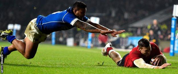 England winger Jonny May scorches over for his second try in the win over Samos