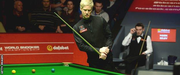 Neil Roberton in action against Mark Selby at the 2014 World Championship