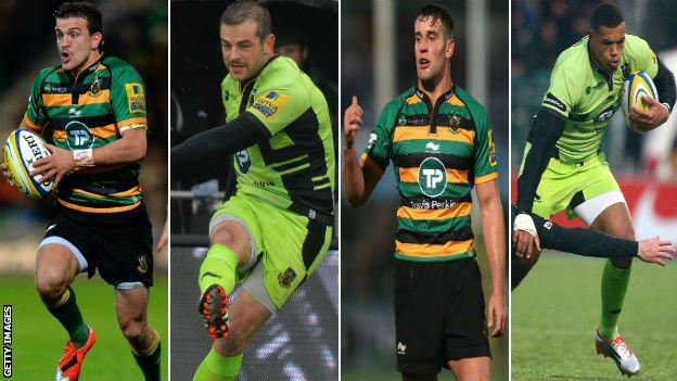 Lee Dickson, Stephen Myler, Calum Clark and Luther Burrell