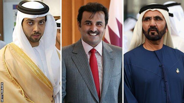 Sheikh Mansour, Sheikh Tamim bin Hamad Al Thani and Sheikh Mohammed bin Rashid Al Maktoum