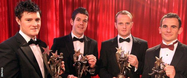 The four Down players who won football All-Star awards in 2010 - Martin Clarke, Brendan McVeigh, Benny Coulter and Danny Hughes