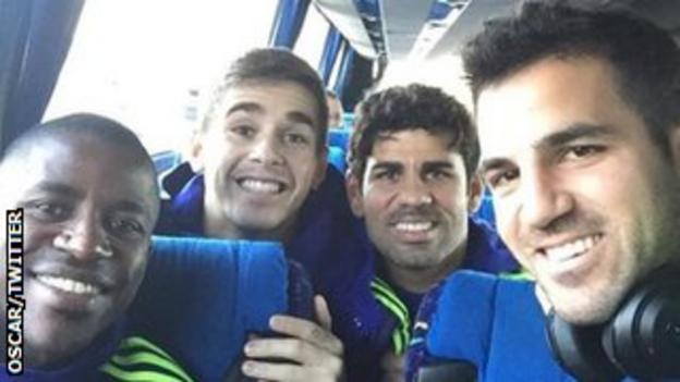 Chelsea players en route to Germany