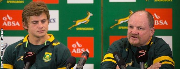 South Africa outside-half Pat Lambie (L) and defence coach John McFarland (R)