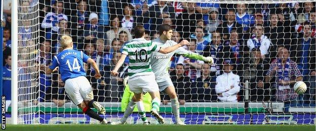 Steven Naismith scoring against Celtic