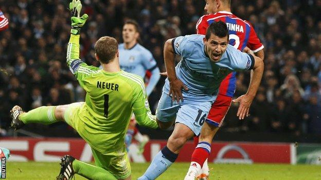 Sergio Aguero has now scored 10 goals in 11 Champions League games