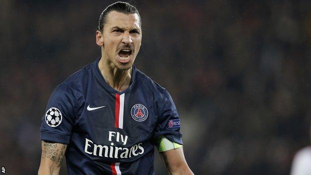 Paris St-Germain forward Zlatan Ibrahimovic