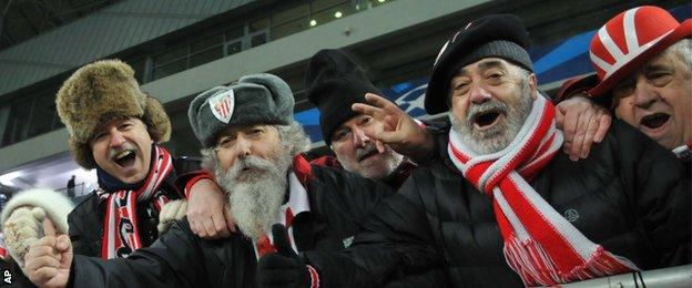 Athletic Bilbao fans at Shakhtar Donetsk