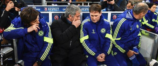 Jose Mourinho with his staff on the bench at Schalke