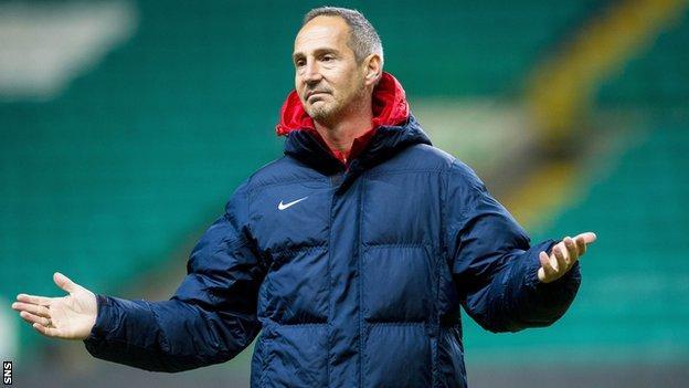 Salzburg coach Adi Hutter during training at Celtic Park