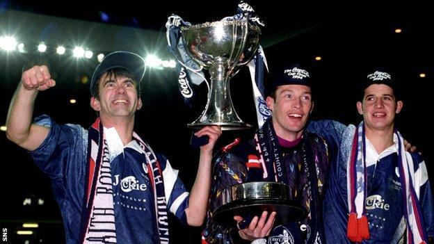 Raith Rovers celebrate their 1994 Scottish Cup victory over Celtic