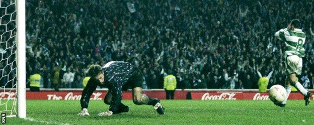 Scott Thomson saves Paul McStay's spot kick to win the League Cup