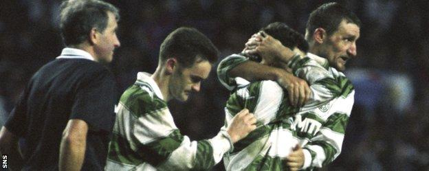 Andy Walker and Tony Mowbray console Celtic team-mate Paul McStay