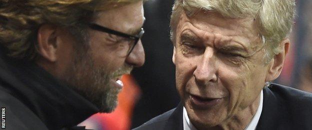Borussia Dortmund manager Jurgen Klopp and Arsenal boss Arsene Wenger