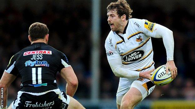 Wasps centre Elliot Daly in action against Exeter Chiefs
