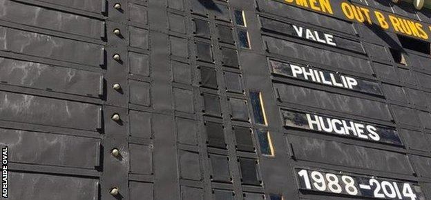 Adelaide Oval scoreboard with a tribute to Phil Hughes