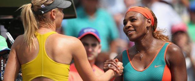 Serena Williams (right) and Maria Sharapova