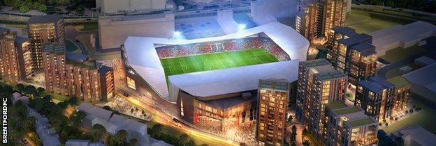 An artist's impression of Brentford's new stadium at Lionel Road