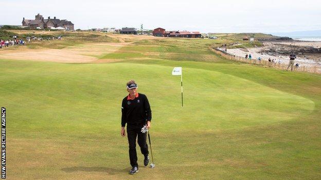 Bernard Langer in action during the 2014 Senior Open Championship