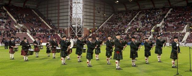 The Band of the Royal Scots Association played at Tynecastle when Hearts played Raith Rovers