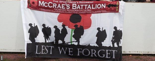 Fans remembered McCrae's Battalion when Hearts took on Raith Rovers in November