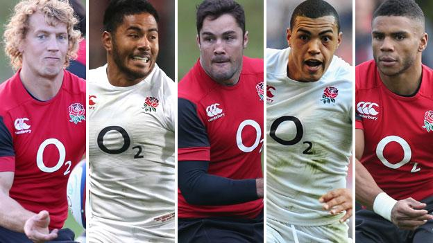 (left to right) Billy Twelvetrees, Manu Tuilagi, Brad Barritt, Luther Burrell and Kyle Eastmond in action for England