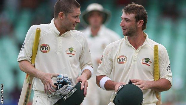 Michael Clarke and Phillip Hughes