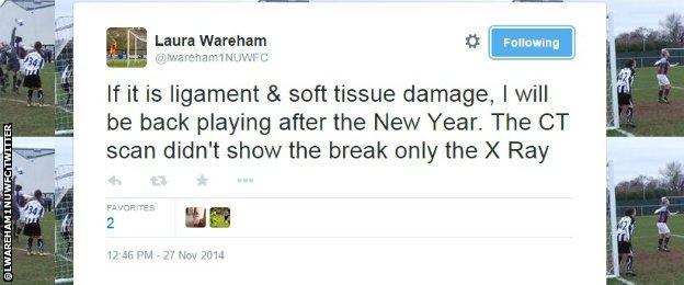 Laura Wareham's tweet