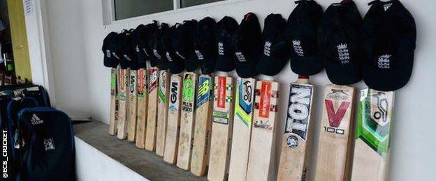 England cricket team's bats