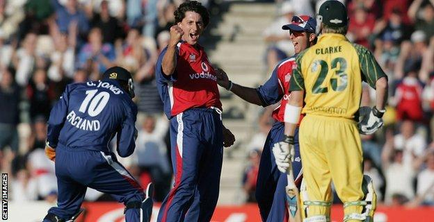 Jon Lewis of England takes the wicket of Michael Clarke of Australia during the NatWest International Twenty20 match between England and Australia
