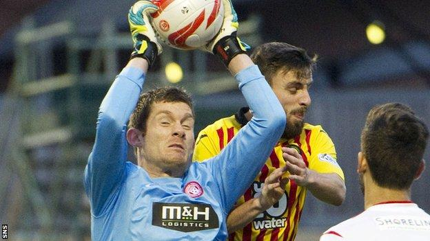 Hamilton Academical goalkeeper Michael McGovern in action against Partick Thistle