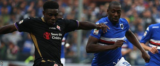 Richards (left) in action for Fiorentina
