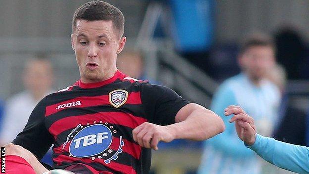 Ruairi Harkin in action for Coleraine