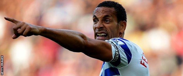 Rio Ferdinand in action for QPR in October