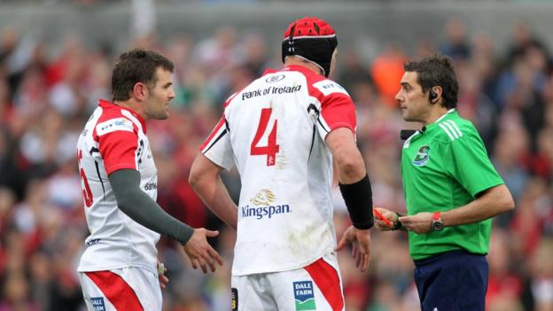French referee Jerome Garces was not flavour of the month at Ravenhill on 5 April as he sent-off Jared Payne for a dangerous tackle on Alex Goode in the early stages of Ulster's Heineken Cup quarter-final defeat by Saracens