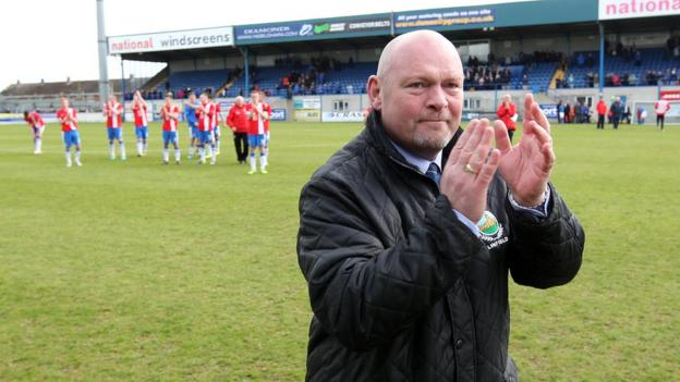 David Jeffrey took charge of Linfield for the final time on an emotional afternoon at Mourneview Park in late April