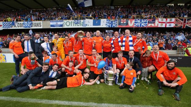 Glenavon beat Ballymena United 2-1 in the Irish Cup final at Windsor Park on 3 May
