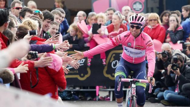 Pink was the predominant colour as tens of thousands of spectators turned out to watch the Giro d'Italia international cycle race in May