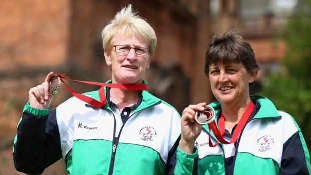 Mandy Cunningham and Barbara Cameron show off their Commonwealth Games bronze medals which they won in the Women's Pairs