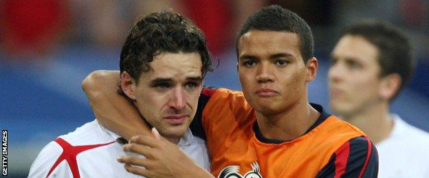 Jermaine Jenas consoles Owen Hargreaves after England are knocked out of the World Cup on penalties by Portugal in 2006