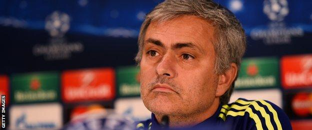 Jose Mourinho at a Champions League press conference