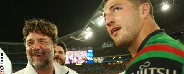 Russell Crowe (left) with Sam Burgess