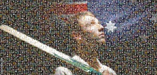 Phillip Hughes mosaic in The Australian