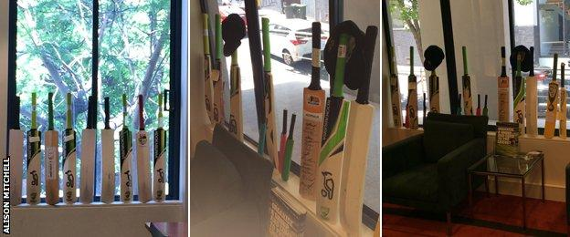 Cricket Australia displayed 63 bats in the windows of their Headquarters in Jolimont Street in Melbourne